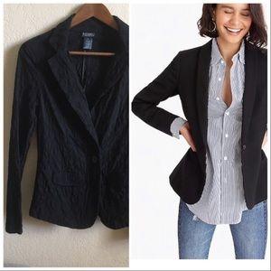 Super stretchy cotton jacquard black blazer